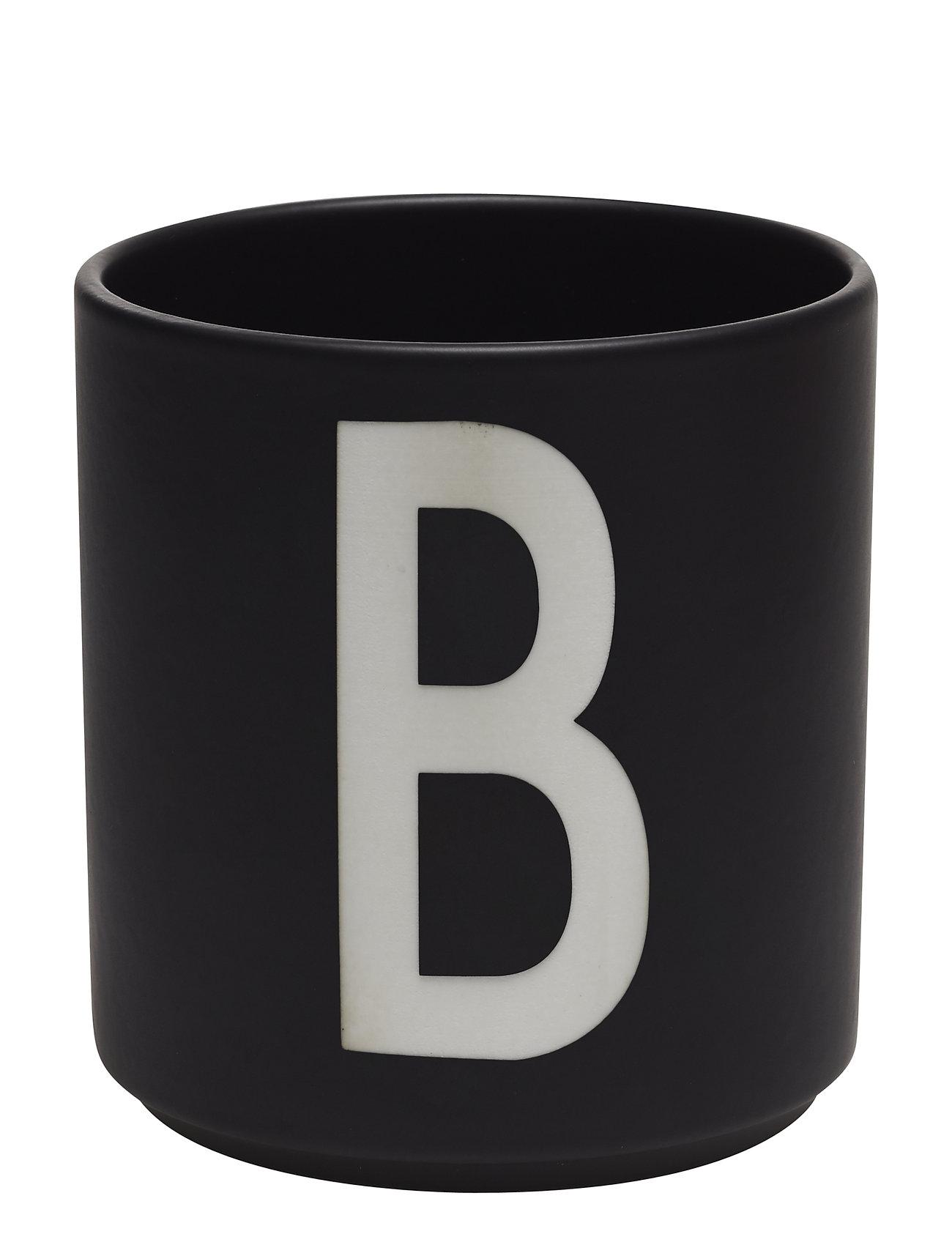 Design Letters Black Porcelain Cups A-Z - BLACK