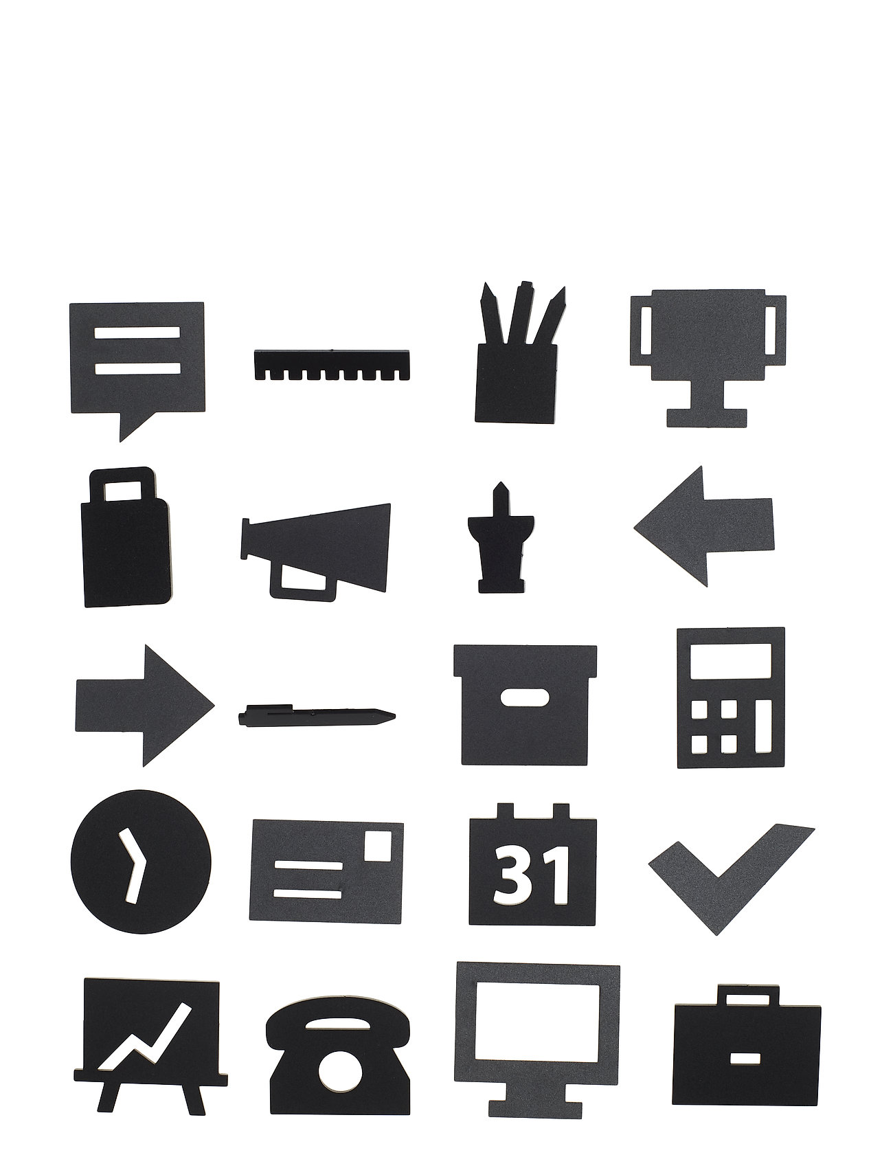 Design Letters Office Icons, for message board (20 pcs) - BLACK