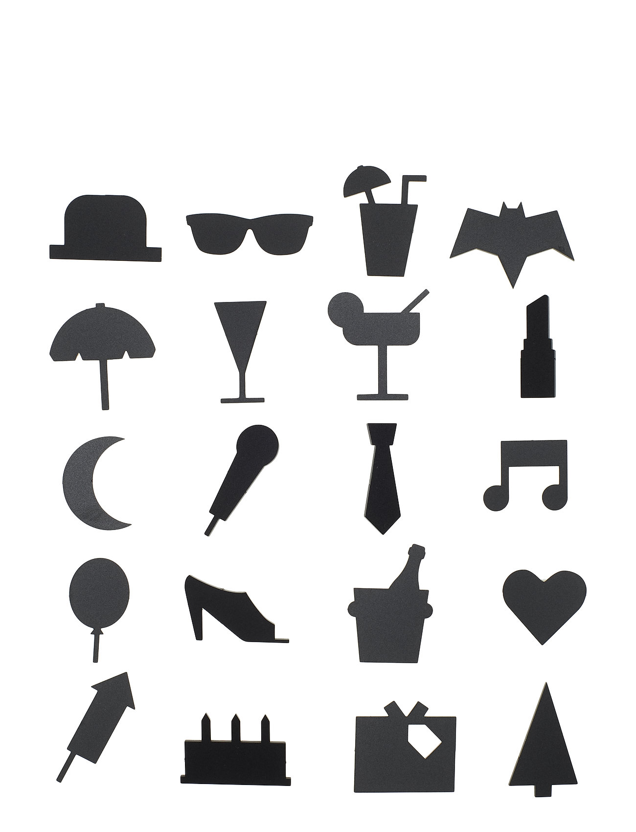 Design Letters Party Icons, for message board (20 pcs) - BLACK
