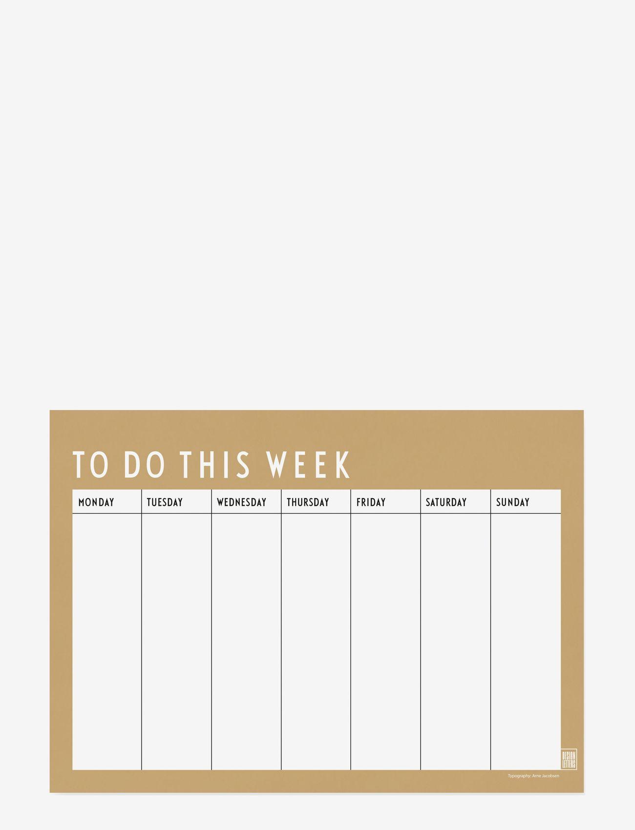 Design Letters - Weekly planner - fournitures de bureau - beige - 0