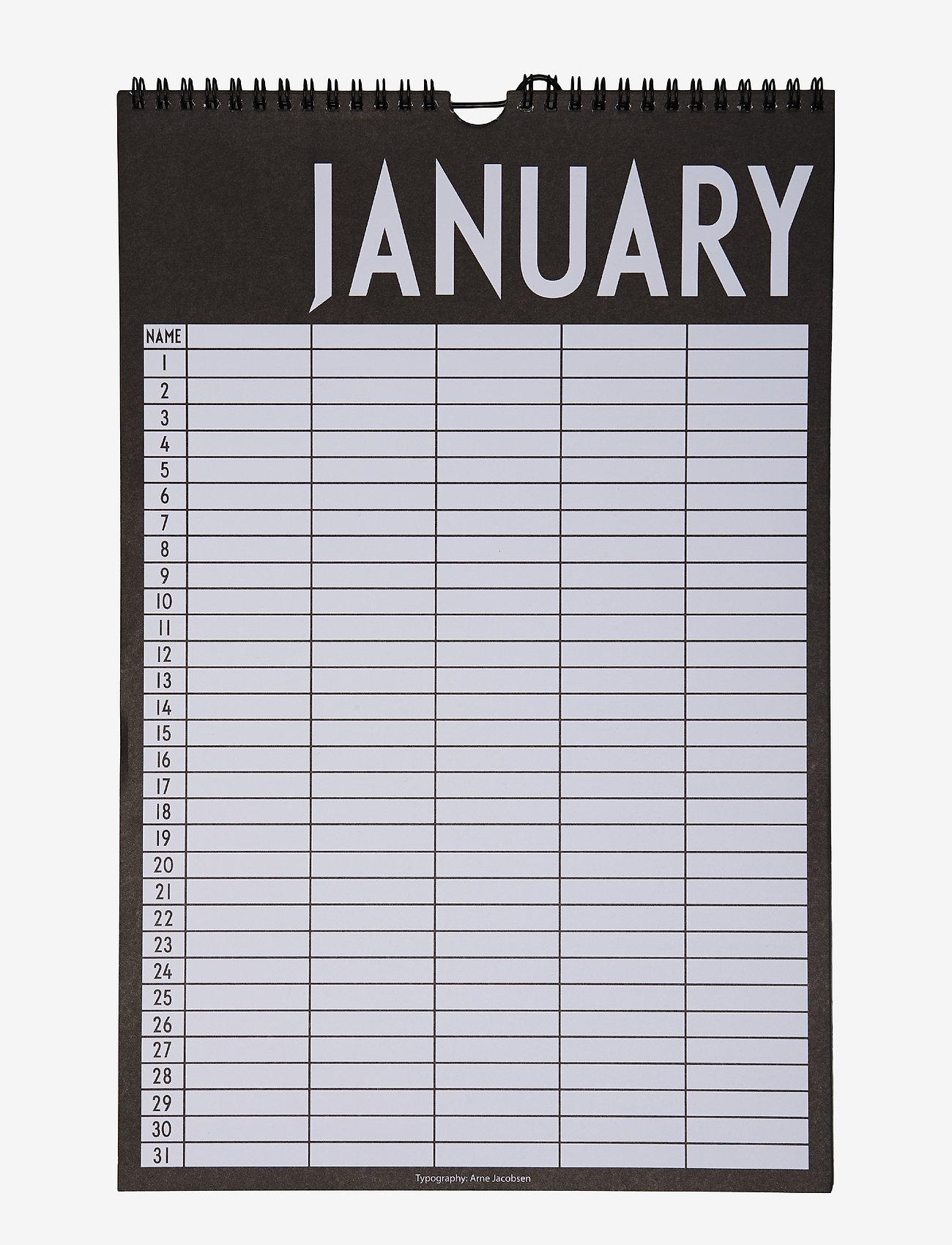 Design Letters - Monthly planner - fournitures de bureau - black - 0