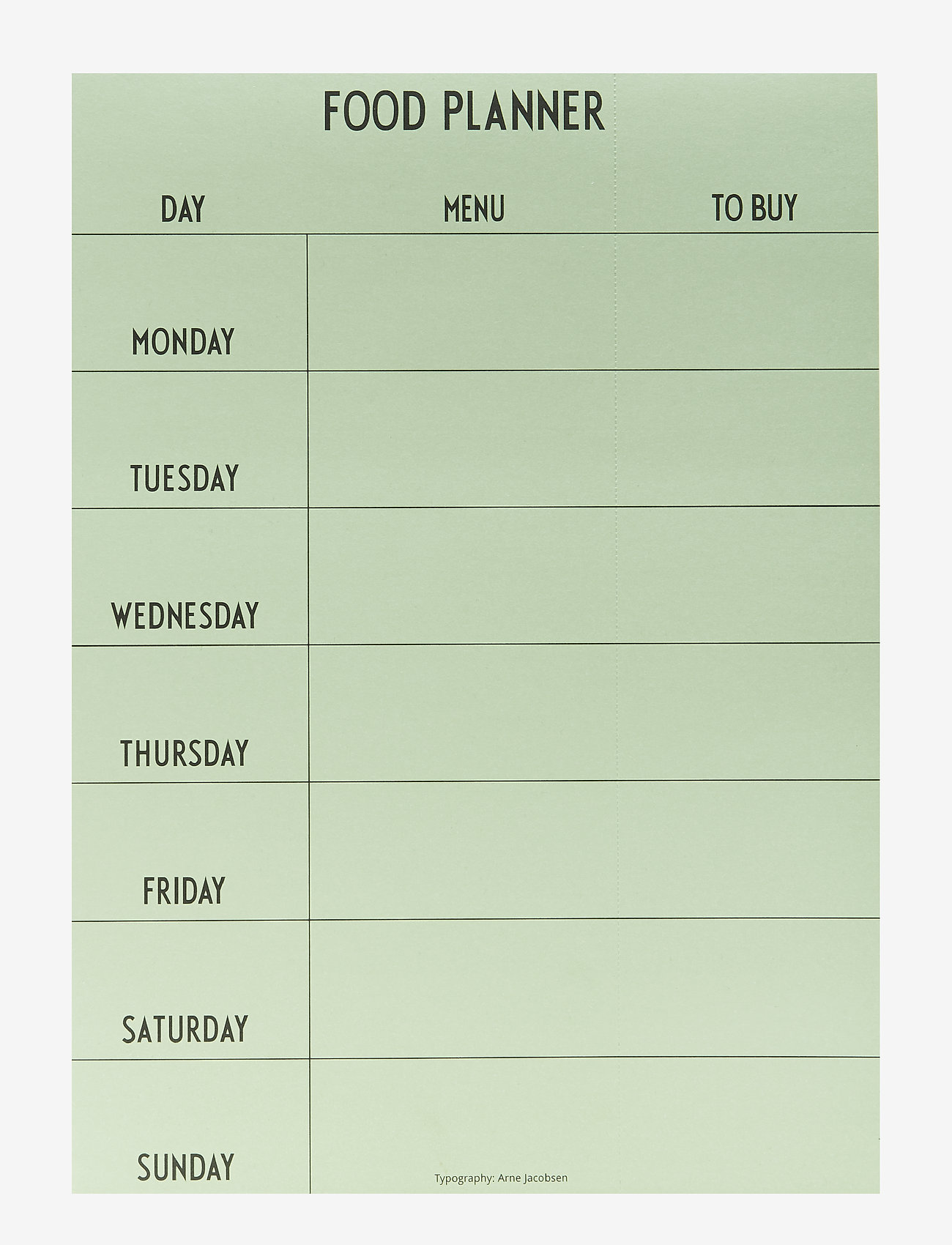 Design Letters - Weekly Food planner - Green - décor - green - 0
