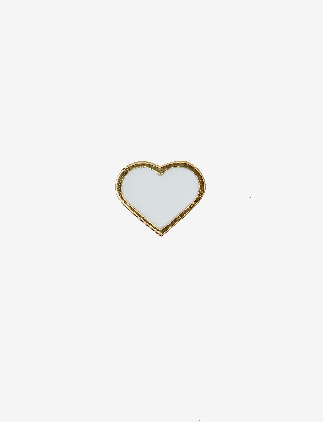 Design Letters - ENAMEL HEART CHARM, GOLD - pendentifs - white
