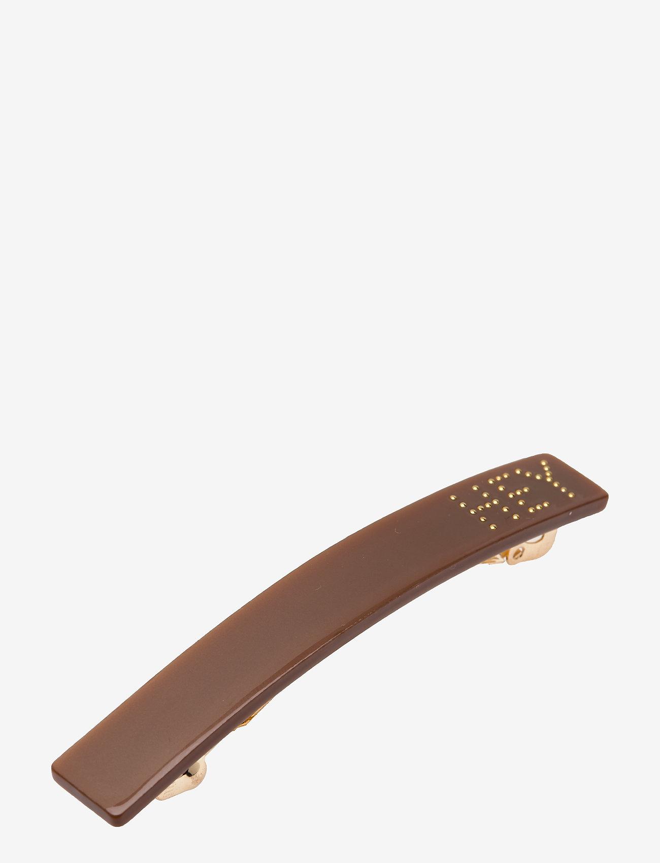 Design Letters - Classic Hair Clip Small - hiusasusteet - brown - 0