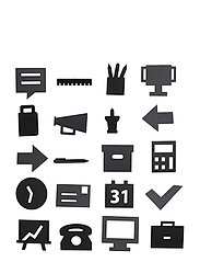 Office Icons, for message board (20 pcs) - BLACK