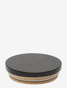 Wooden lid for porcelain cup - mugs & cups - black