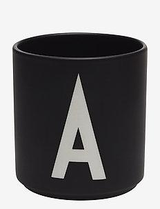 Black Porcelain Cups A-Z - deko - black