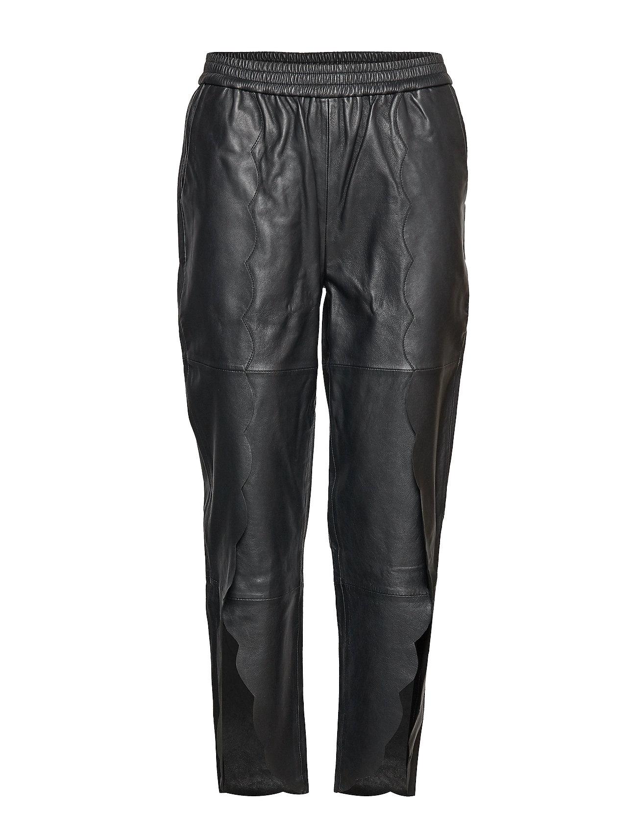 Image of Erin Scallop Pants Lb Bukser Med Lige Ben Sort DESIGNERS REMIX (3006910963)