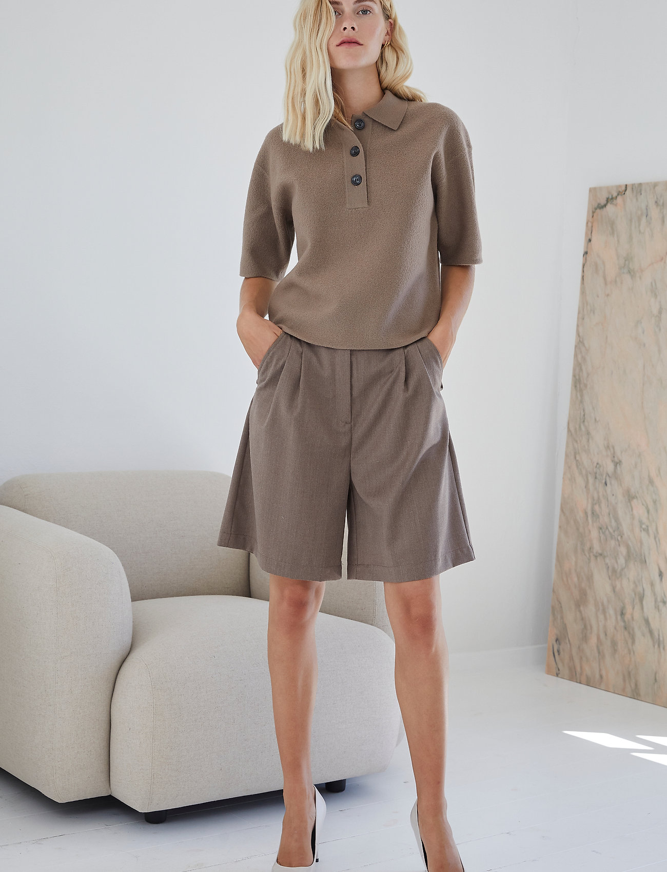 DESIGNERS, REMIX - Lucca Knit Blouse - strikkede toppe - taupe - 0