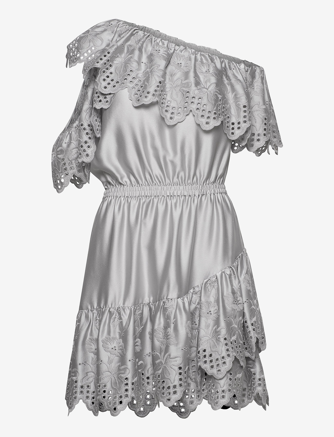 DESIGNERS, REMIX - Asymmetric broderie anglaise dress - blondekjoler - light grey - 0