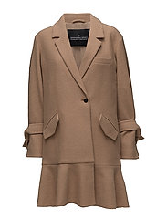 Edith Ruffle Coat - CAMEL