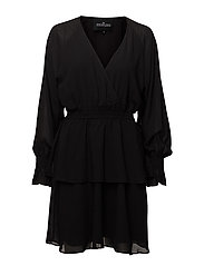 Lea Wrap Dress - BLACK