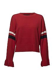 Alvin Ruffle Sleeve - LIPSTICK RED