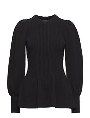Irene Peplum Sweater - BLACK