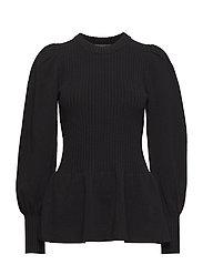Irene Peplum Sweater - BLACK