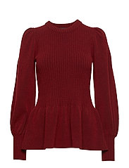 Irene Peplum Sweater - DARK RED