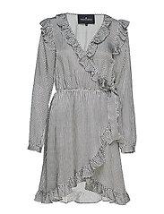 Jael Ruffle Dress - BLACK/WHITE CHECK