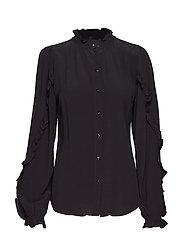 Nini Ruffle Shirt - BLACK