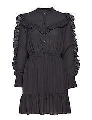 Saga Ruffle Dress - BLACK