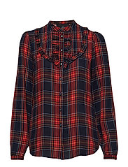 Saga Ruffle Shirt - CHECK