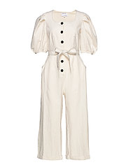 Button-detailed jumpsuit with square neckline - CREAM