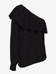 DESIGNERS, REMIX - Leana One-Shoulder Top - langærmede bluser - black/yellow dot - 1