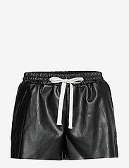 DESIGNERS, REMIX - Leather free leather shorts with elasticated waist - skinn shorts - black - 1