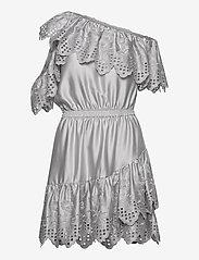 Asymmetric broderie anglaise dress - LIGHT GREY