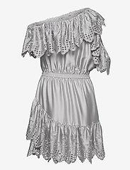 DESIGNERS, REMIX - Asymmetric broderie anglaise dress - blondekjoler - light grey - 1