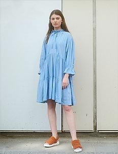 Tiered ruffle neck dress - skjortekjoler - stripes