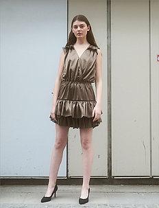 Ruffled front wrap dress - festkjoler - khaki