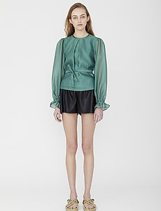 Sheer blouse with back buttons and puffed sleeves - langærmede bluser - dusty green