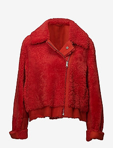 Boxy shearling coat with large collar and zipper - skinnjackor - lipstick red