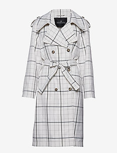 Chelsea Button Trench - trenchcoats - check