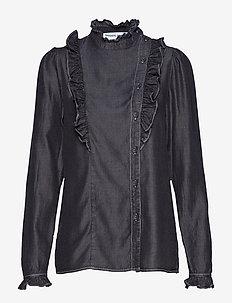 Polly Shirt - langærmede bluser - black denim