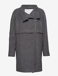 Hardy Long Coat - ullkappor - dark grey melange