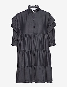 Polly Layered Dress - BLACK DENIM