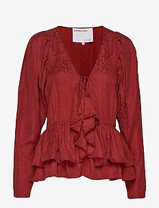 Ruben Lace-up Top - OX BLOOD