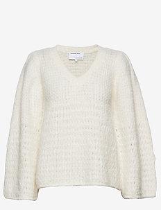 Caress V-neck Sweater - trøjer - cream