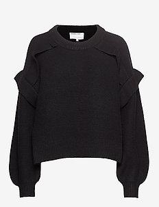 Silvia Panel Sweater - BLACK