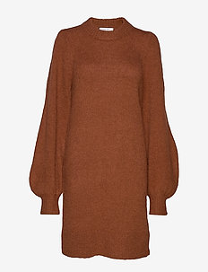 Caress Sleeve Dress - neulemekot - mahogany