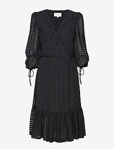 Sheer ruffled wrap dress - BLACK