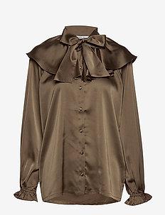 Feature collar pussy-bow blouse - langærmede bluser - khaki