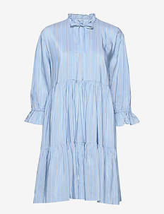 Tiered ruffle neck dress - paitamekot - stripes