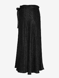 Long jacquard wrap skirt - BLACK