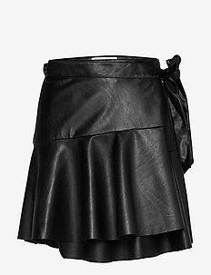 Ruffled leather free leather wrap skirt - lyhyet - black