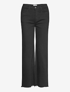 High-rise straight-leg cropped jeans - straight jeans - black