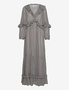 Long sheer ruffled dress - maxi kjoler - print