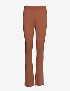 Flared rib knit pants - casual housut - cinnamon