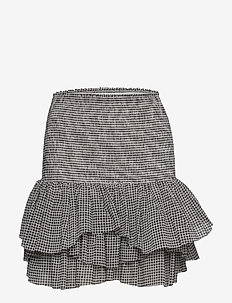 Smocked ruffled mini skirt - korte nederdele - print